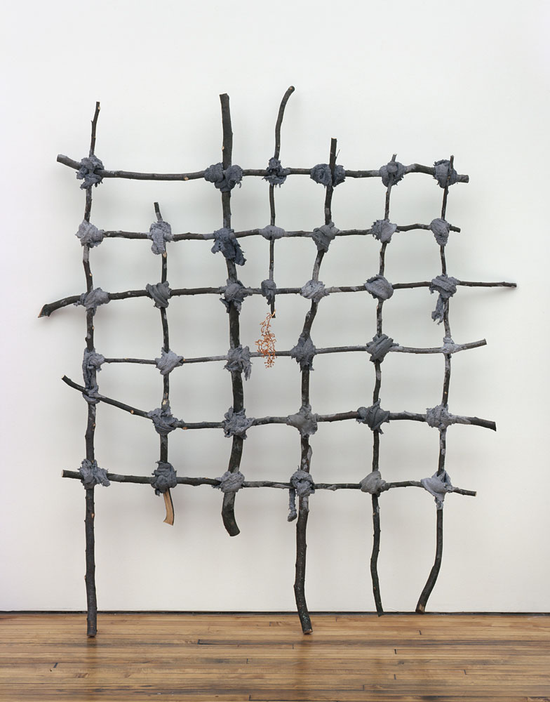Alexandra Bircken, Runner in the Woods, 2011, Wood, cloth, mortar, grape stem, copper, pigment and screws, 184 x 170 x 28 cm