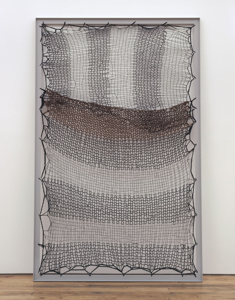 Alexandra Bircken, Wärmegitter, 2011, Wool, aluminum frame, 219.7 x 139.7 x 5.1 cm