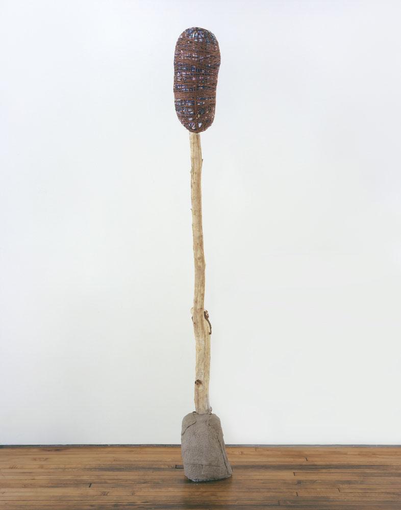 Alexandra Bircken, aHead IV, 2011, Wood, cloth, wool, plaster, pigments, 235 x 26 x 42 cm