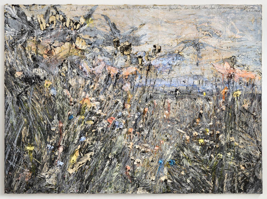 Anselm Kiefer, Paul Celan We scooped the darkness empty, we found the word that ascended summer flower, 2012, Oil emulsion, acrylic on photograph on canvas, 280 x 380 cm