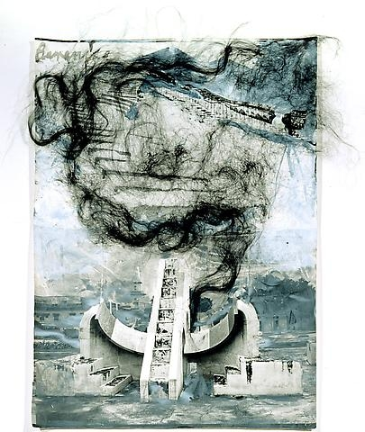 Anselm Kiefer, Untitled (Berenice), 2003, Painted photograph with hair, 127 x 96,5 cm
