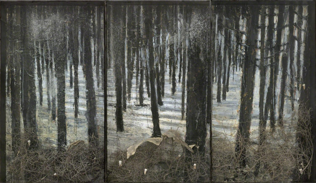Anselm Kiefer, Winterland, 2010, oil, emulsion, acrylic, shellac, ash, torn bushes, synthetic teeth and snakeskin on canvas in glass and steel frames, 331,9 x 576,1 x 35,1 cm