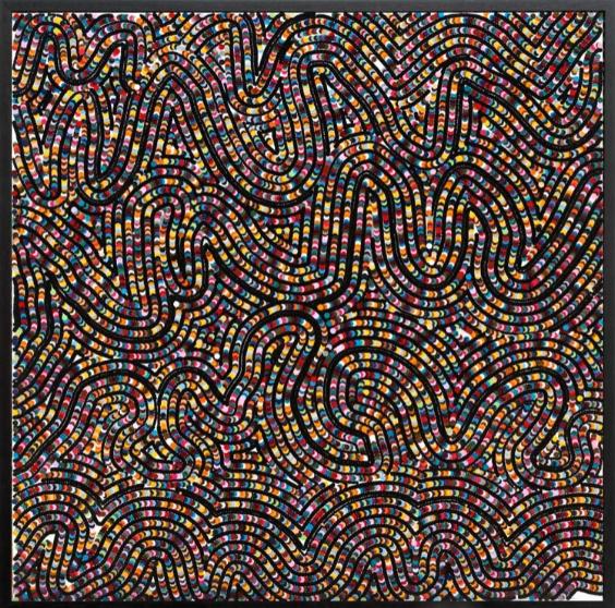 Bharti Kher, Blanket, 2007, bindis on wooden panel,