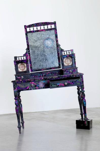 Bharti Kher, Make Up (As You Go Along), 2010, wood, mirror, bindis, glass bricks,