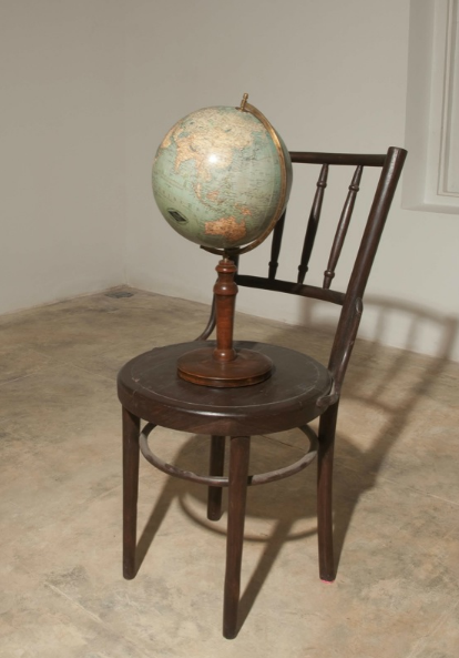 Bharti Kher, Not All Who Wander Are Lost (2), 2010, wooden chair, antique globe, mechanism,