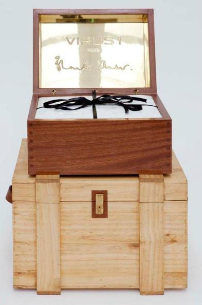 Bharti Kher, Virus 1, 2010, mahogany wood, brass, 10,000 bindis, instructions for installation, 12 x 18 x 14 inches (box); 13.10 feet in diameter (spiral)