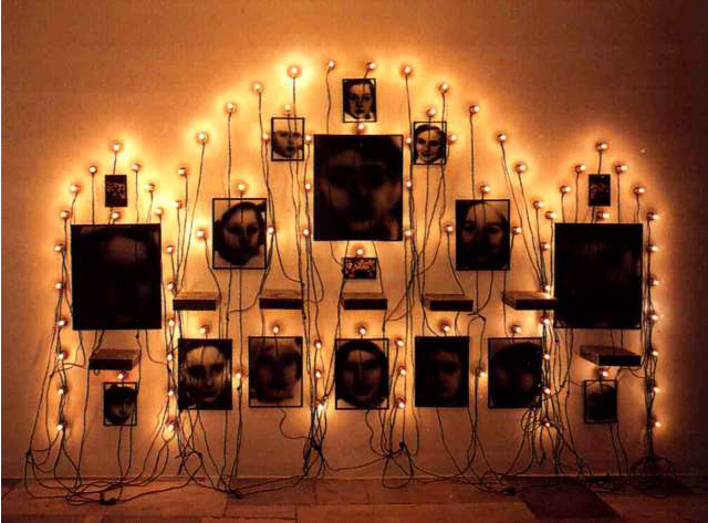 Christian Boltanski, Untitled, photos, metal boxes and lamps, 1989