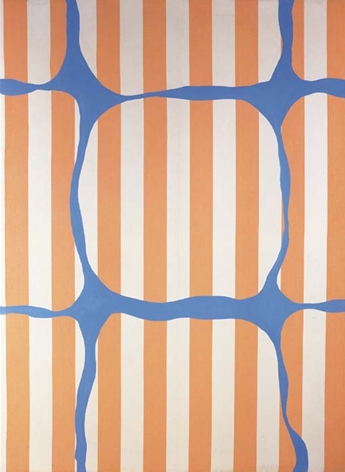 Daniel Buren, Painting with various blue shapes on white and orange striped fabric, acrylic on cotton, 1966