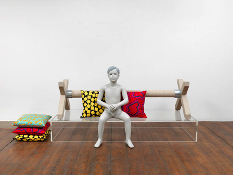 David Lieske, Style and Subversion Fig.6 (Portrait of the artiste as a young dealer), 2012, Linen coated obstacle, perspex, paint, mannequin, cushions, 94 x 178 x 68 cm
