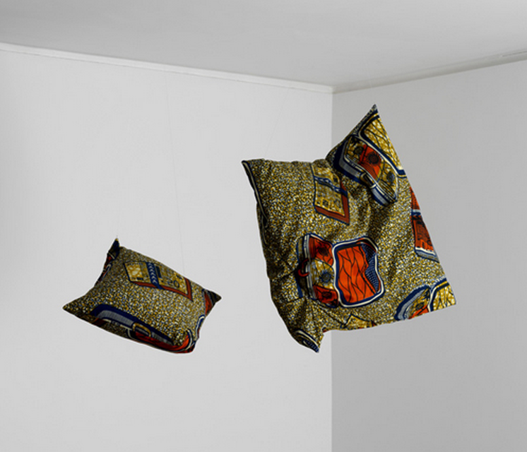 David Lieske, The African Clouds, 2009, Children's cushions, fabric, fishing wire, fishing hooks, 48 x 14 x 48 cm