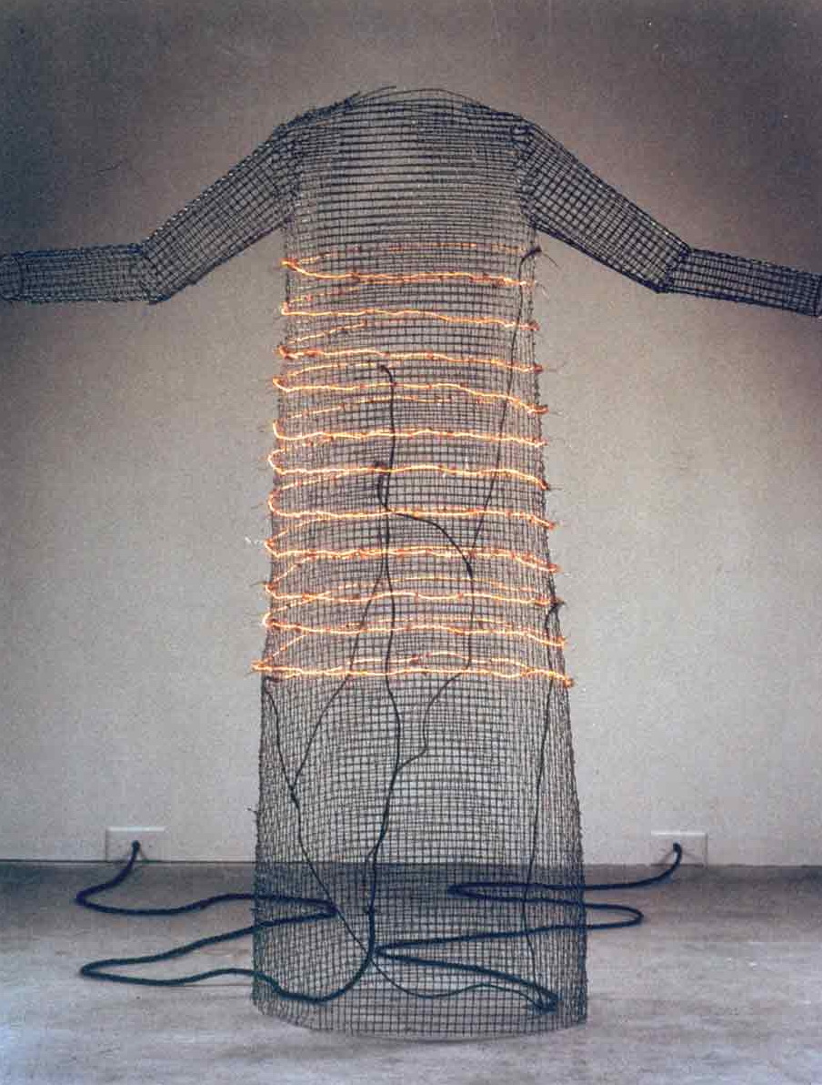 I Want You to Feel the Way I Do ... (The Dress), 1984-1985. Live uninsulated nickel-chrome wire mounted on wire mesh, electrical cord and power