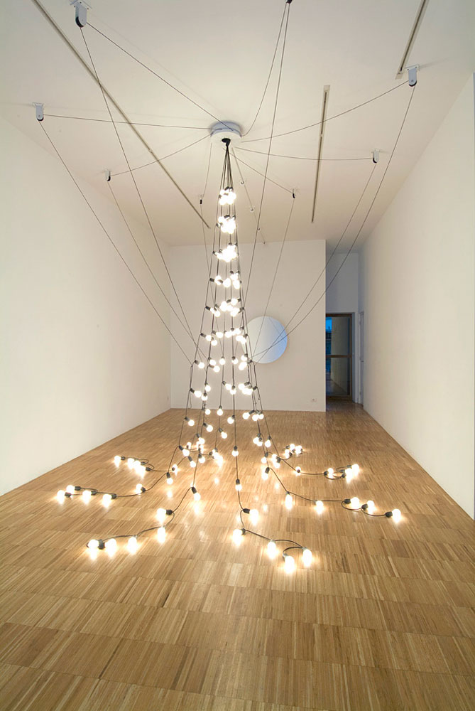 Jeppe Hein, Light Pavilion, 2009, exercise bike, aluminium and steel construction, chain drive, light chain, variable dimensions