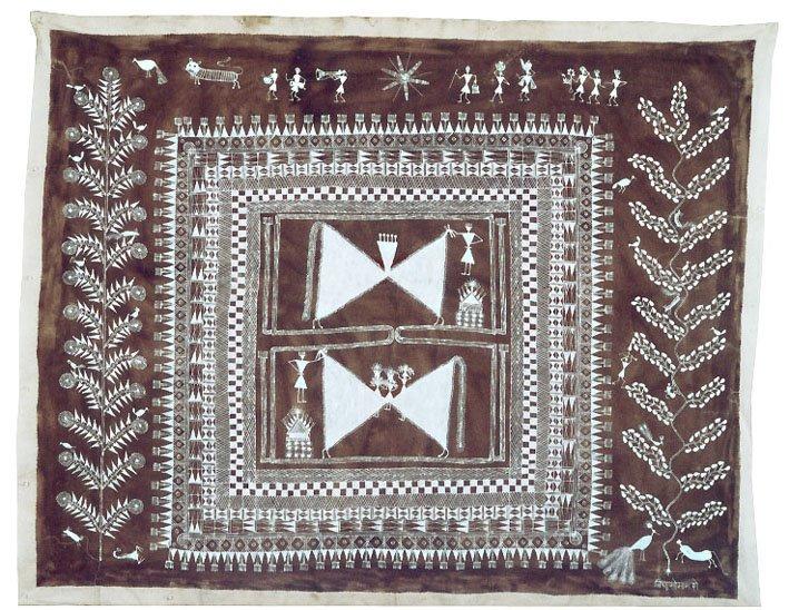 Jivya Soma Mashe, Cauk, 1997, Acrylic and cowdung on canvas, 115x146 cm
