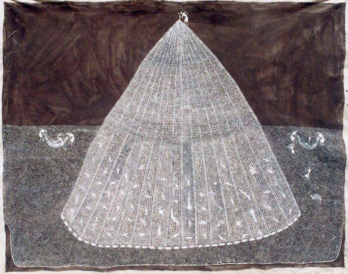 Jivya Soma Mashe, Fish Men, 1997, acrylic and cowdung on canvas, 115x146 cm
