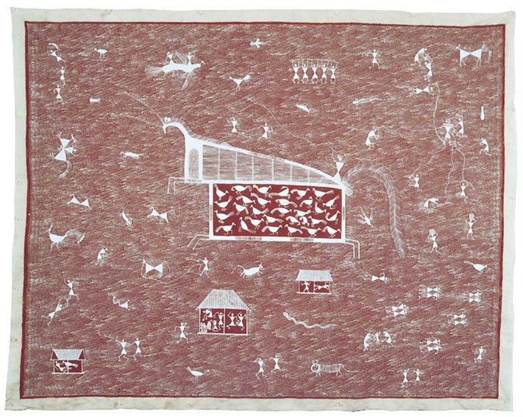 Jivya Soma Mashe, The Dead Horse, acrylic on canvas, 115x146 cm