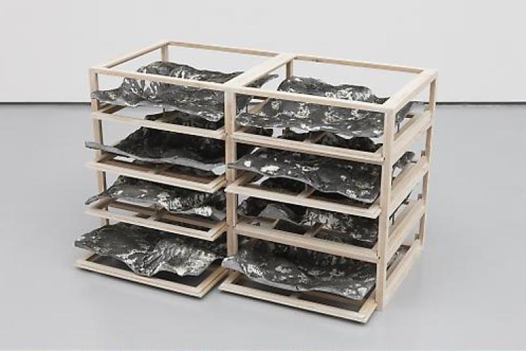 Katrín Sigurdardóttir, Untitled 1-3, 2009, Wood, resin, pigments, steel, epoxy, 53.3 x 83.8 x 38.1 cm