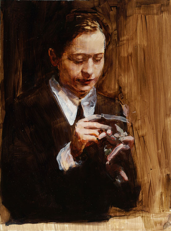 Michaël Borremans, Crazy Fingers, 2007, oil on cardboard