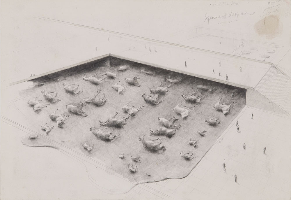 Michaël Borremans, Square of Despair, 2005, pencil on cardboard