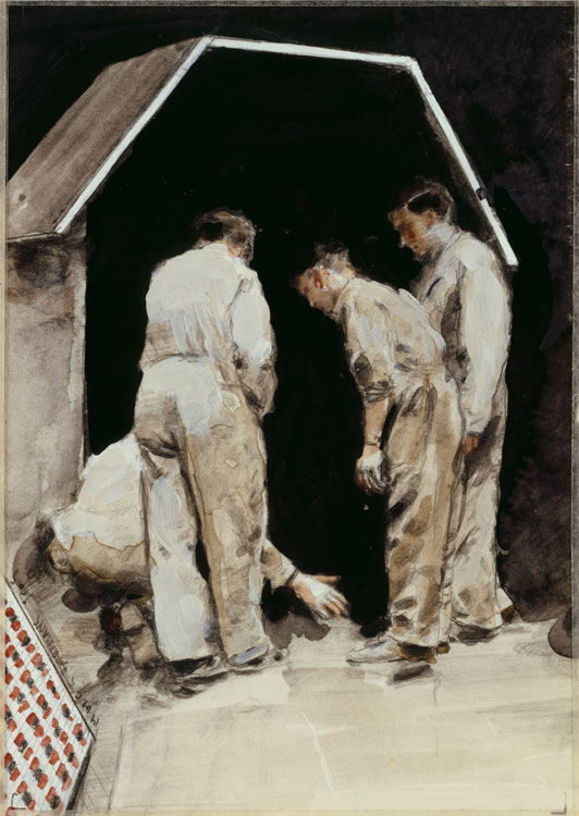 Michaël Borremans, The Filling, 2005, pencil, watercolor and gouache on paper