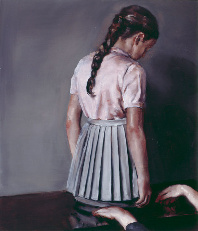 Michaël Borremans, The Skirt 2005, oil on canvas