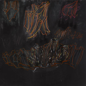Per Kirkeby, Untitled (Læsø), 2008, mixed media on blackboard, 122 cm x 122 cm