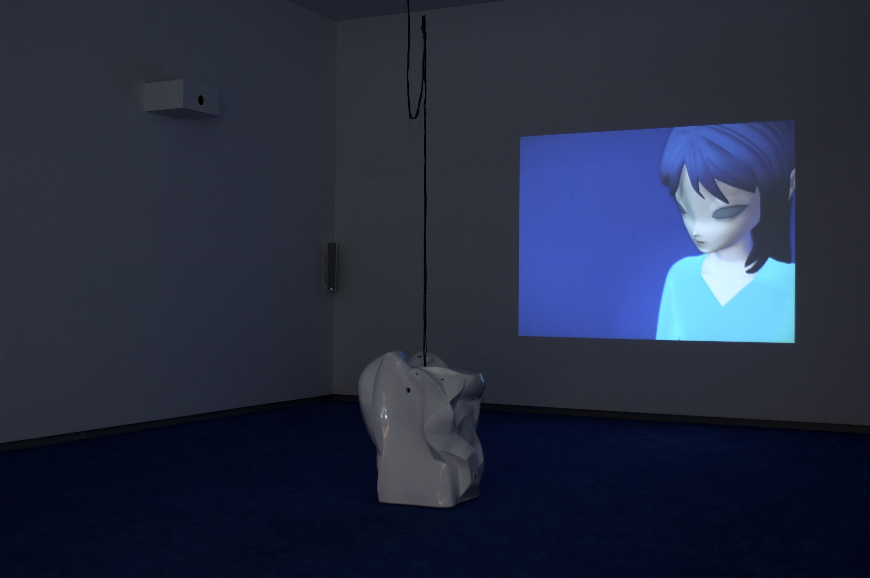 Philippe Parreno, Installation view of Anywhere out of the World (AnnLee), 2000, 3D animation, Digital Betacam