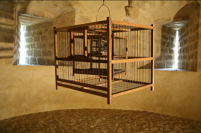 Shilpa Gupta, Untitled (cages), 2010, three imbricated cages
