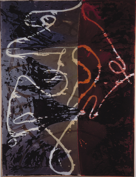 Sigmar Polke, Neue Schleifen, 1988, Enamel, dispersion on fabric, 300 x 225 cm