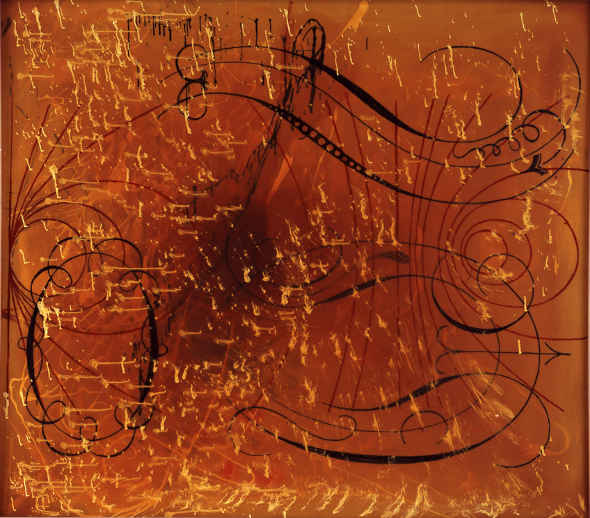 Sigmar Polke, Untitled, 1989, Artificial resin on polyester fiber, 46 x 54 inches