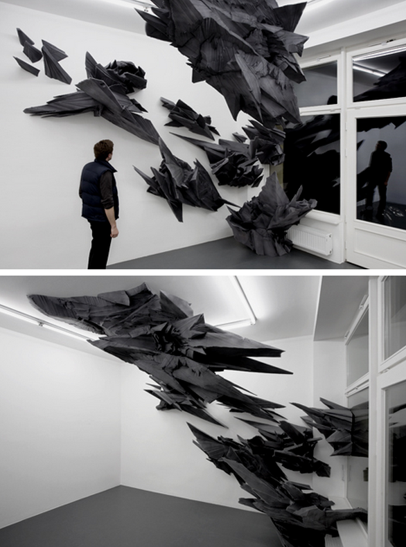 Sonja Vordermaier, Formed absence of light, Basotect UF, paint, wood , approx. 6 x 3,5 x 4 m, Lena Brüning Gallery, Berlin, 2008