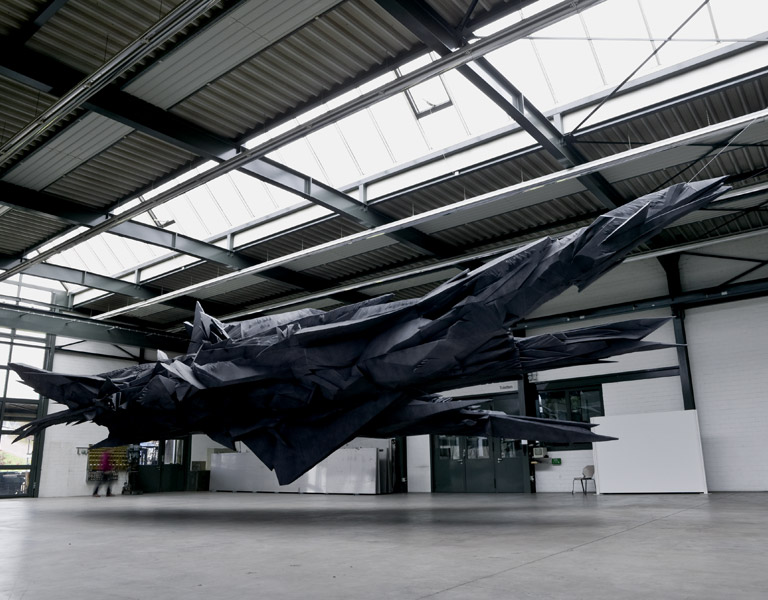 Sonja Vordermaier, Shadow 2, Basotect UF, paint, steel, approx. 18 x 7 x 4 m, Erich Hauser Foundation, Rottweil, Germany, 2007