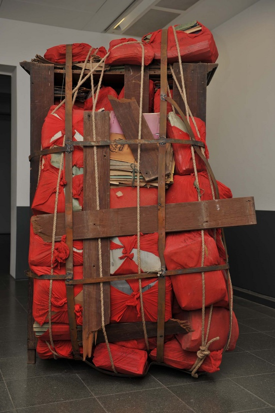 Subodh Gupta, Date by Date (detail), 2008, installation view, Indian Highway, Serpentine Gallery, London, 2008