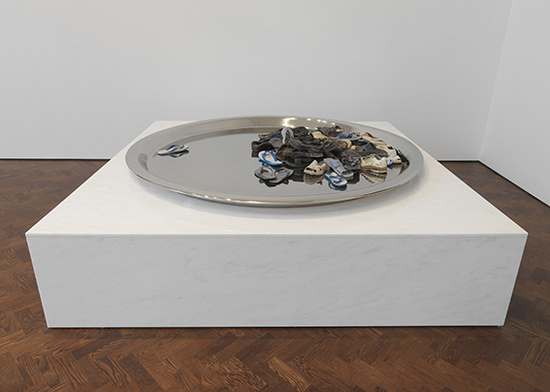 Subodh Gupta, I Believe You, 2009, stainless steel, sandals, Diameter 213.3 cm - 84 in