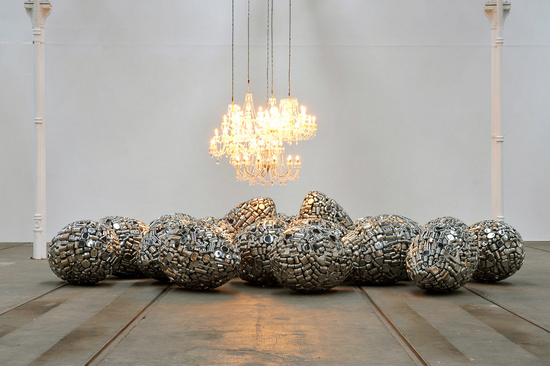 Subodh Gupta, Installation view, Take Off Your Shoes and Wash Your Hands, Tramway, Glasgow Scotland