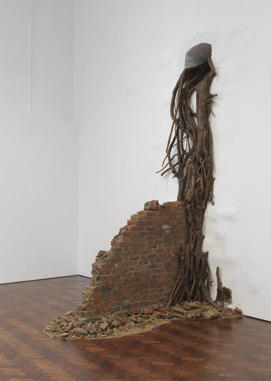 Subodh Gupta, Wall, 2009, fiberglass, paint, brick wall
