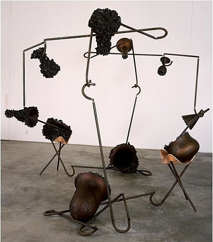 Tunga, Beauty and the beast, 2000-2001, cast iron, iron, magnets, iron fillings and leather