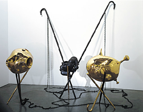 Tunga, Beauty and the beast, 2002-2003, cast bronze and copper magnets