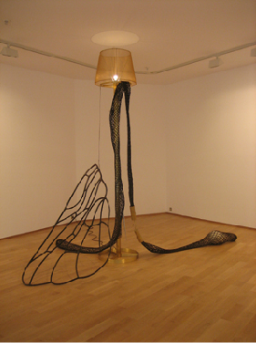 Tunga, Pin up down too, 2007, melted brass aluminum, steel electrical cable, epoxy resin