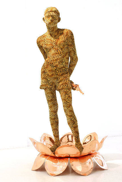 Valay Shende, Boy on Lotus, 2008, fiberglass fabric, copper plated on fiberglass,168 x 81 x 81cm