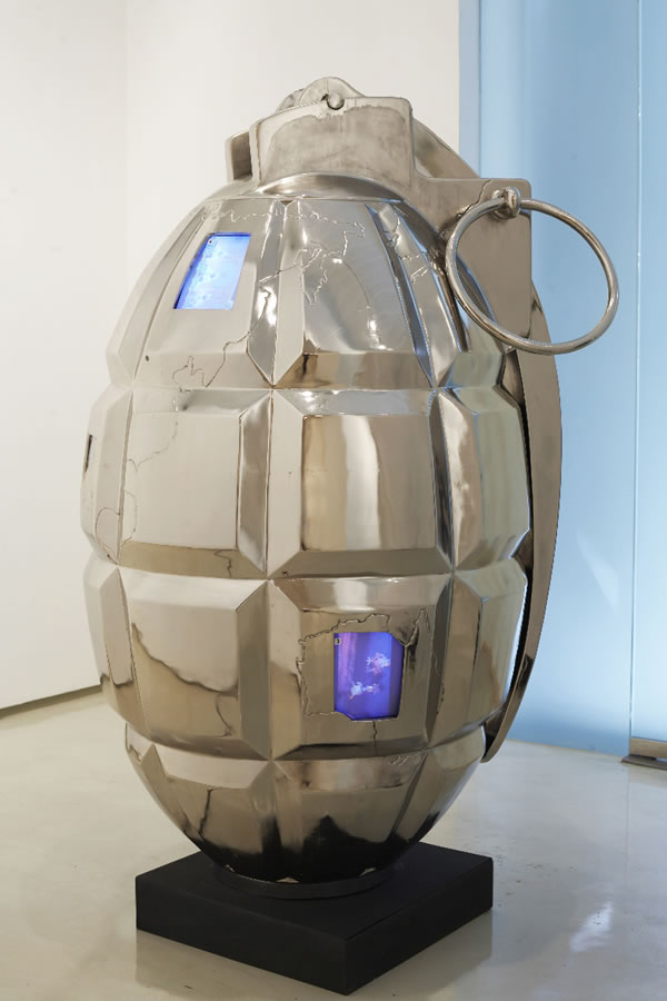 Valay Shende, The Grenade, 2007, 180 x 107 x 107cm, nickel coating on fiberglass, CCTV and videos, detail.
