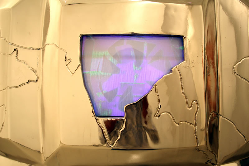 Valay Shende, The Grenade, 2007, 180 x 107 x 107cm, nickel coating on fiberglass, CCTV and videos, detail