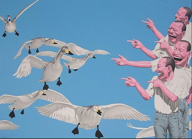 Yue Minjun, Big Swans, 2005