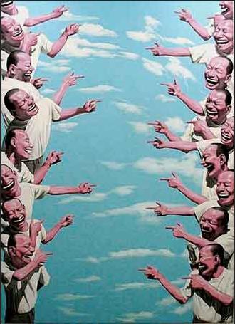 Yue Minjun, Pointing, c. 2003