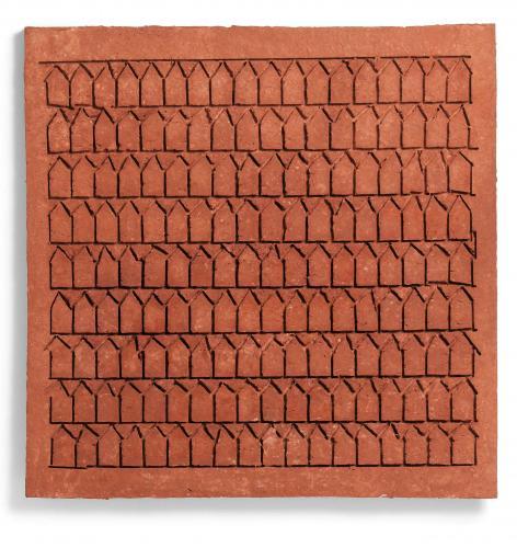 Zarina Hashmi, Traces, paper casting, 73.7 x 73.7 x 2.5 cm