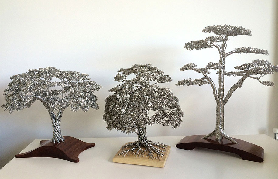 Artist Turns Single Strands Of Wire Into Elaborate Tree Sculptures ...