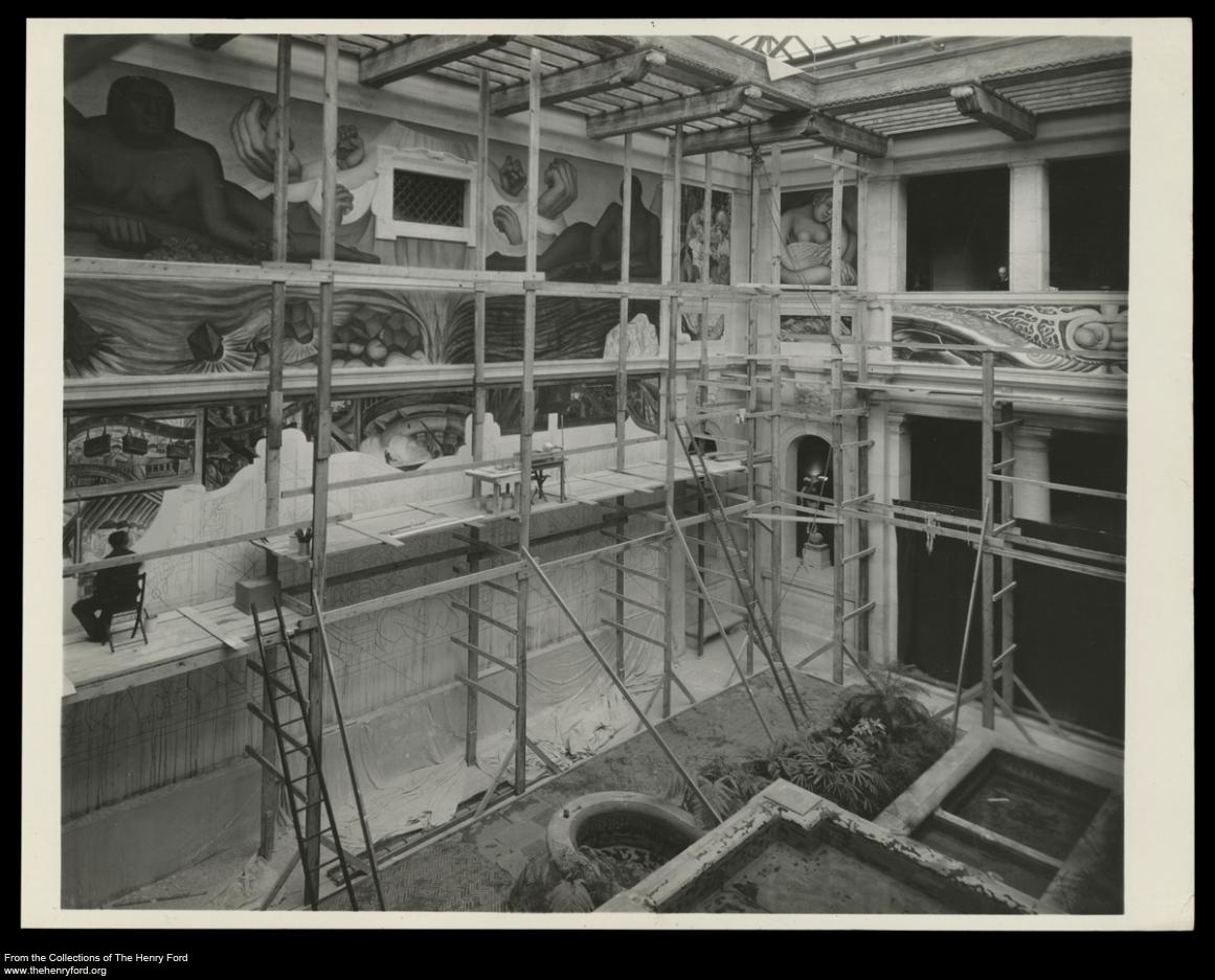 the Detroit Industry frescos in progress.