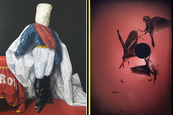 Left: Eckart Hahn, Lord, 2010. Acrylic on canvas, 200 x 150 cm. Photo courtesy of Wagner + Partner Berlin. Right: Eckart Hahn, Black Moon, 2014. Acrylic on canvas, 50 x 35 cm. Photo courtesy of Wagner + Partner Berlin.