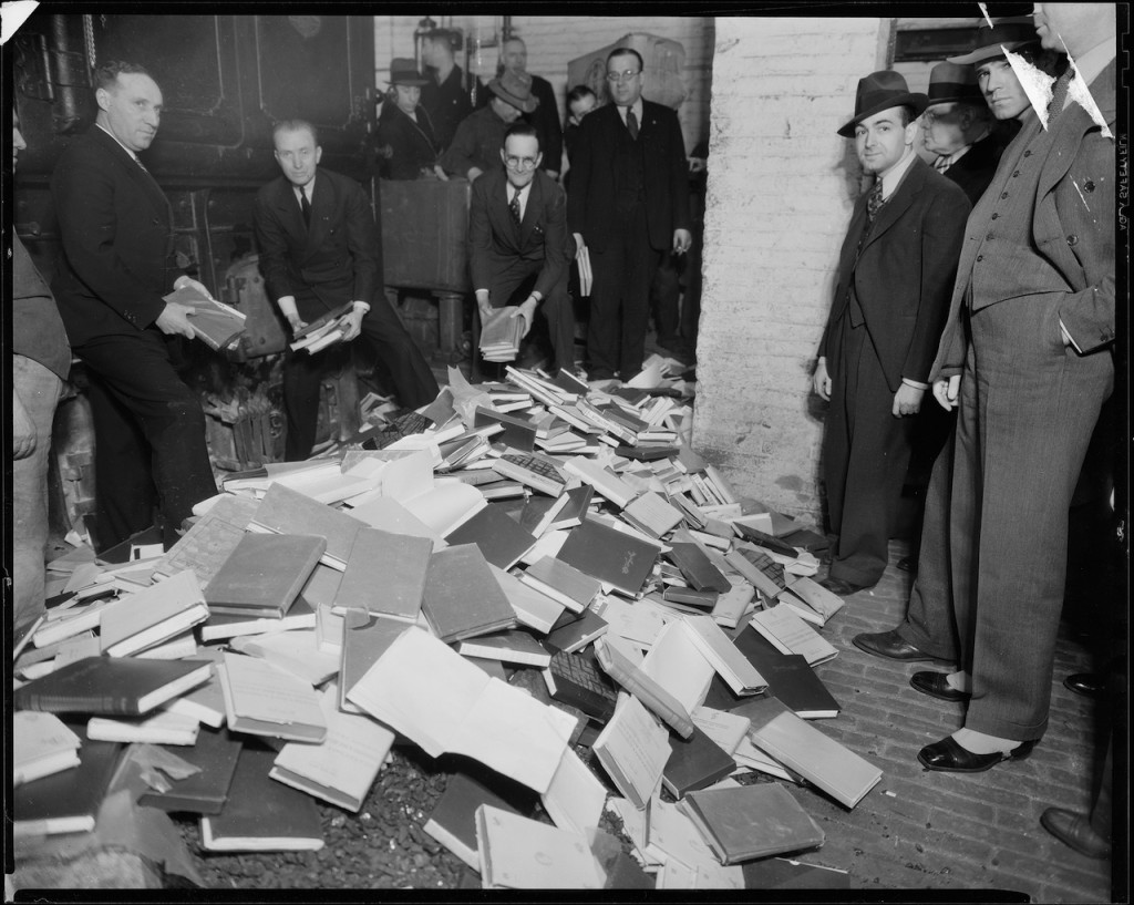 """Books designated """"indecent"""" being burned at Manhattan Police Headquarters (1935) (courtesy New York City Municipal Archives)"""