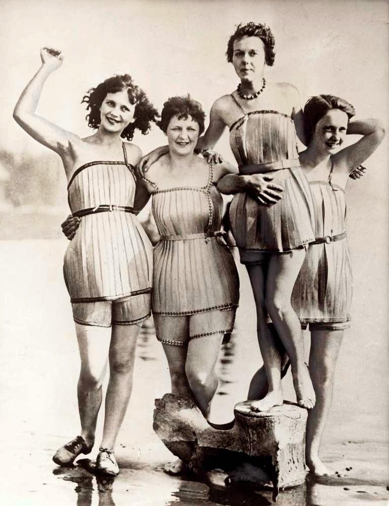 Bathing suits made of wood, Hoquiam, Washington, 1929.
