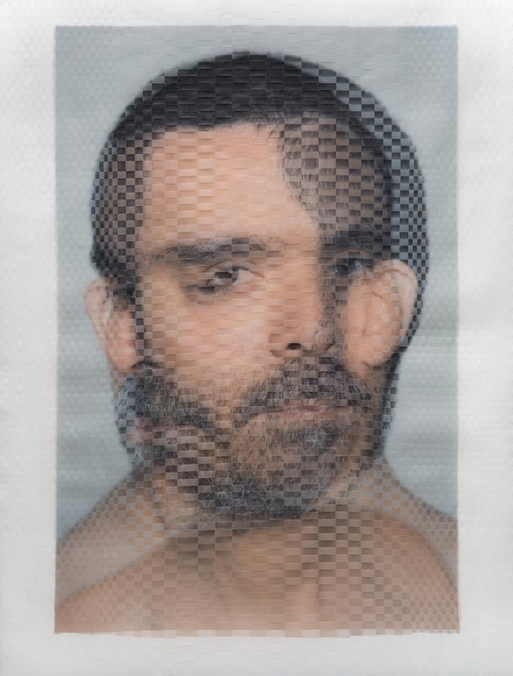 """Documentation of """"Hermann Mejía, Artist (X)"""" a Woven Portrait by David Samuel Stern"""
